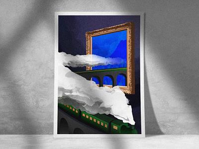 Tableau à Grande Vitesse illustration digital museum tableau travel blue poster illu print podcast artwork art painting train illustration