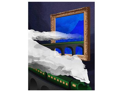 Tableau à Grande Vitesse speed art tableau painting podcast museum travel blue illu smoke train illustration