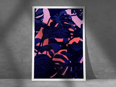 Dusk twilight mockup illustration art moon night design poster blue illustrator print illustration illu jungle dusk