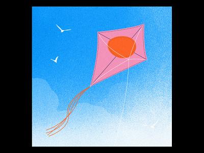 Kite by day cloud soleil jour cerf-volant sun sky day illustrator illu illustration kite