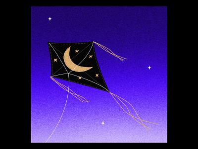 Kite by night nuit cerf-volant sky moon night illustrator illu illustration kite