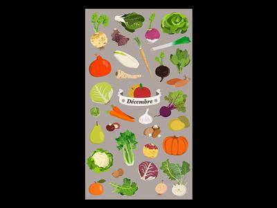 Seasonal fruits and vegetables - December