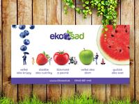 Ekosad.sk - outside banner for fruits and vegetables sale. outside print banner colorful yardsale vegetables fruits ecology eco
