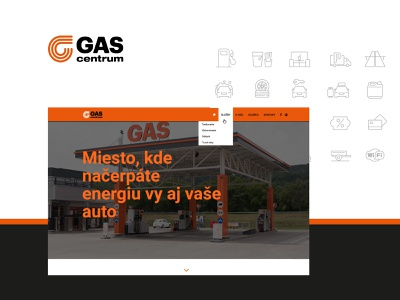 GASpuchov.sk - webdesign for a gas station with servis icons orange website gas station gas gaspuchov