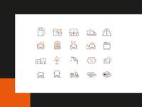 GASpuchov.sk - custom icon set orange black design website icons gas icons line icons iconset icons gas station
