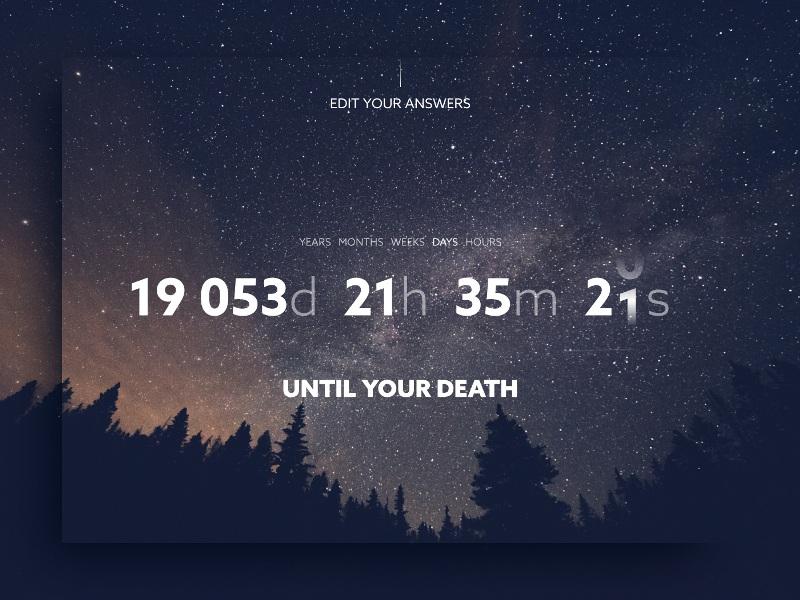 DailyUI #014 - Countdown Timer  DEATH CLOCK by Andrej Cibík