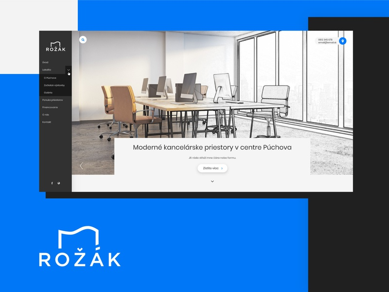 Rozak.sk - multifunctional building presentation geometric modern blue architecture building web website