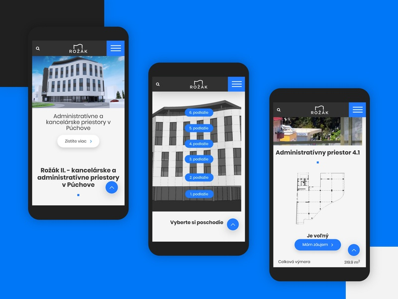 Rozak.sk - mobile layout website builder responsive blue geometric modern architecture mobile website