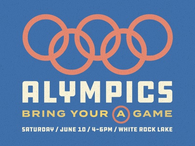 A-Lympics  draplin adults young yellow red blue olympics vintage church sports