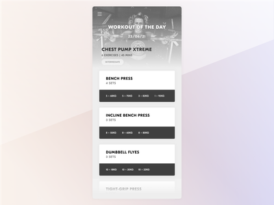 Daily UI - #062 - Workout of the day dailyui