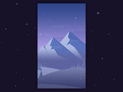 Snowy mountains illustration flat winter snow mountains