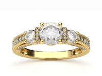 3-Stone Diamond Gold Engagement Ring
