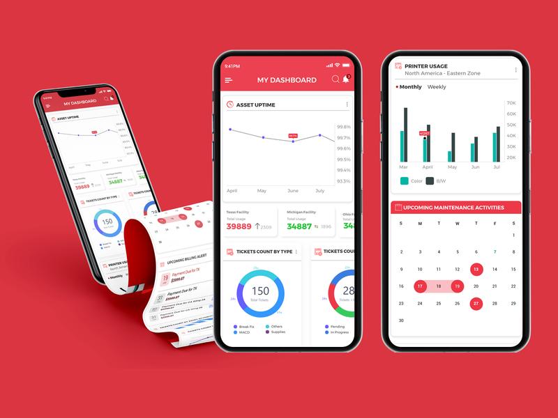 Hardware Asset Management App printer management mobile app design dashboard wireframe mobile app illustration user experience