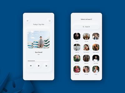 Skeuomorphic Design creative digital music app music player clean design ui interactivedesign design mobileapplication