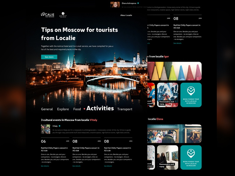 Moscow Hotel's Guide picture timetable selector dark ui landing page design landingpage travel webdesign typography figma uidesign ui  ux design