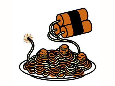 Blasta meatballs spaghetti dynamite tnt explosion pasta
