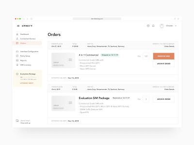 Orders page (IoT software) web application design figma orders iot app iot admin ux design clean saas prototype ux dashboard minimal web app software