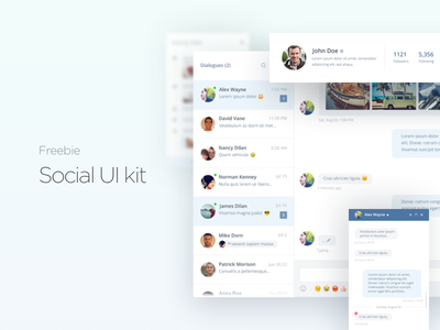 Freebie - Social Ui Kit (Psd) social psd ui product interface clean freebie facebook data chat minimal web app