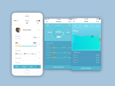 Hifitness- data tracking mobile app fitness app app ui