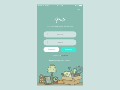 Login page of Gsale_ Garage sale helper login design login page garagesale ui mobile app