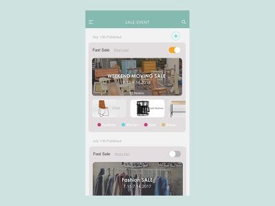 Sale Event page for the seller _ Gsale_ garagesale app design ui mobile app