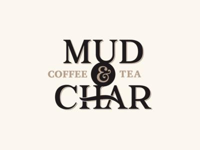 Logo : Mud and Char vintage logo lettering identity design branding brand