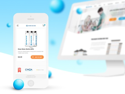 Homewater. Screens. Mobile water shop ecommerce