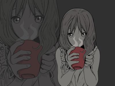 Girl With Cup art coffee cup girl anime