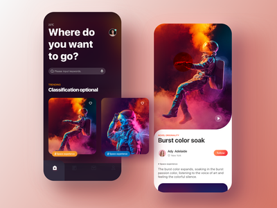 space travel simple app home page illustration 设计 discover ios11 ui design