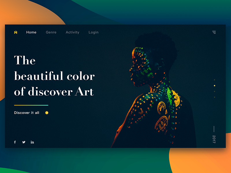 The  beautiful color  of discover Art design click flip style register share webpage art discover color