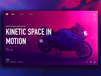 Motion space design click flip style register share classification motorcycle theme sports webpage color