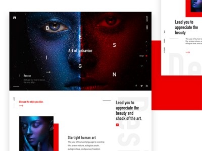 The inspiration of Art design click red typesetting flip style register share webpage art discover color