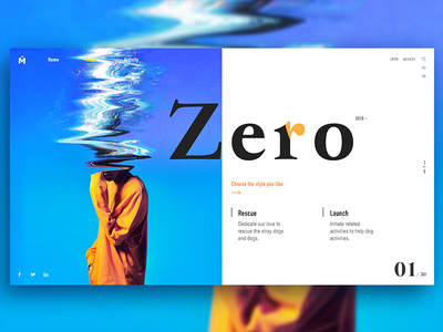 Zero design click flip style register share classification theme zero carnival webpage discover color