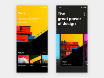 The great power of design combination slide card design iphone ios11 style share art discover color