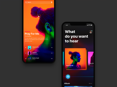 Follow the music combination card design iphone ios11 play style music share listen discover color
