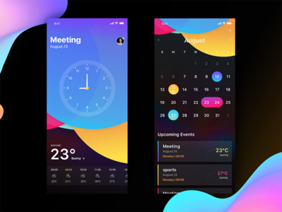 Reminding remind calendar time alarm clock card design iphone ios11 play style share color