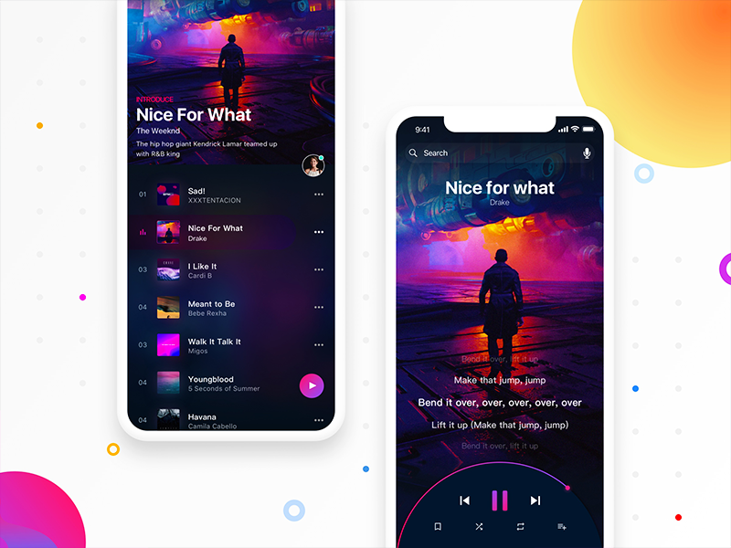 Sensuous music choice music ui playlist ios button page home style design show