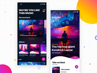 Sensuous music suspension style show homepage colour button app uc ux ios music ui