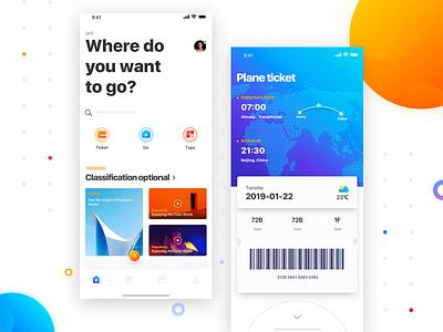 Go play search travel card plane ticket icon 商标 插图 发现 应用 ios11 颜色 样式 ui 分享 设计