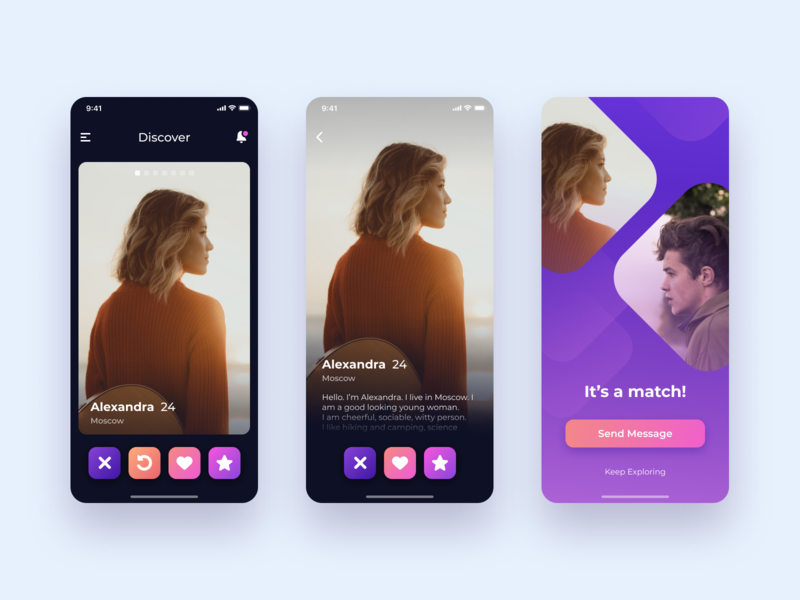 Dating App. Swipe & Match screens
