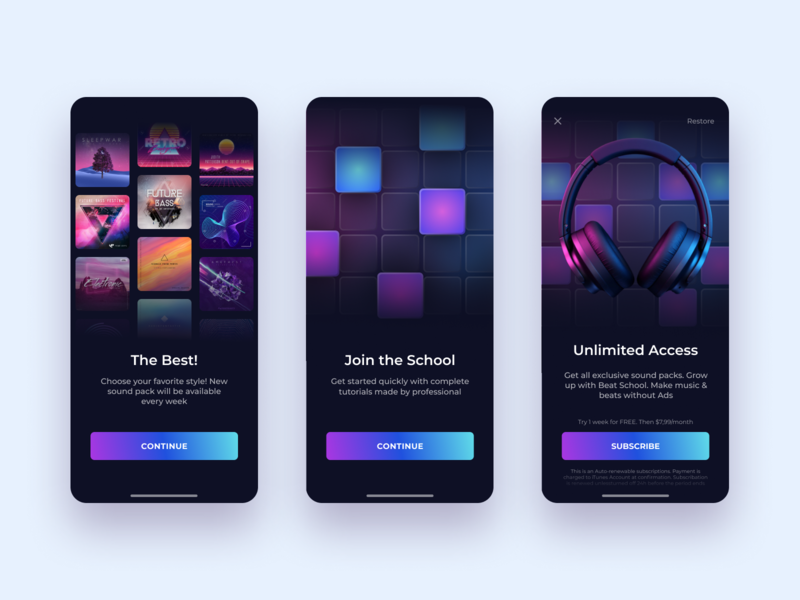 Beat Maker - Mobile app. Onboarding & Subscriptions screens