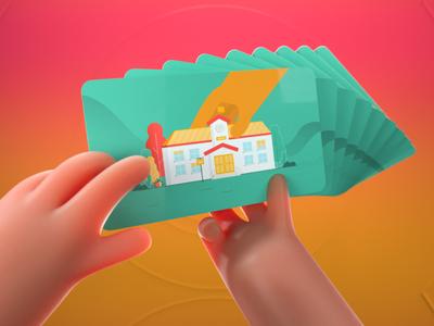 We cards branding 3d art 3d motion graphics characters art direction motion design illustration design animation 2d