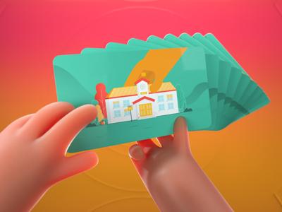 We cards 3 education school house home cards colors hands 3d artist 3d motion graphics branding art direction characters motion design illustration design animation 2d