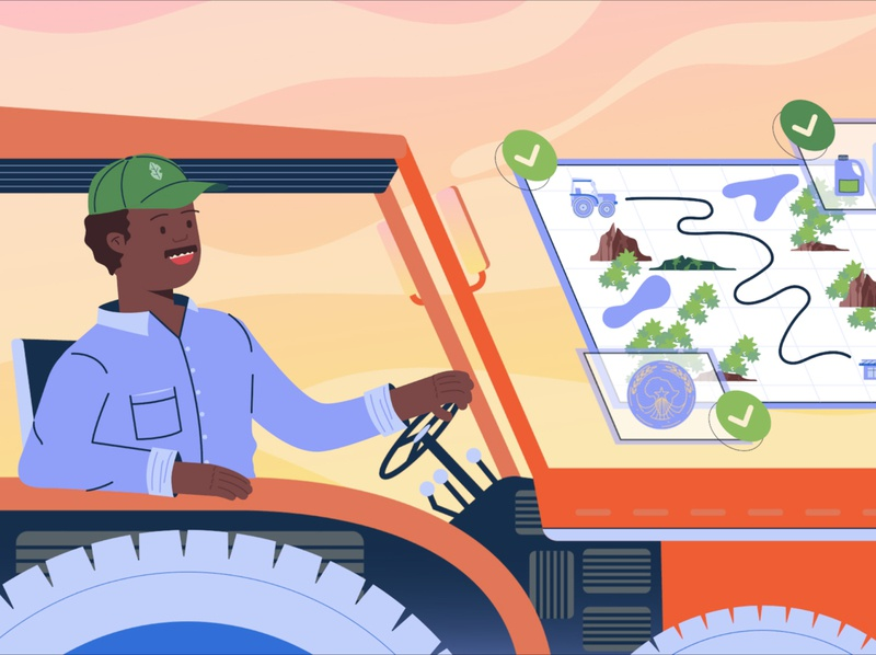 Appui budgetaire farmer harvest field land colors mood happy hat vehicle tractor map farmer art direction characters motion design illustration design animation 2d