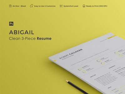 ABIGAIL - Resume Template professional resume professional minimal resume cv curriculum vitae creative resume cover letter clean resume clean cv career 3-piece resume