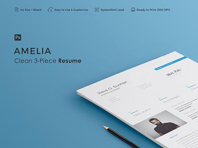 AMELIA - Resume Template professional minimal vitae curriculum creative letter cover cv clean career resume 3-piece