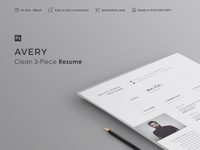 AVERY - Resume Template resume professional resume professional minimal cv curriculum vitae creative resume cover letter clean resume clean cv career 3-piece resume