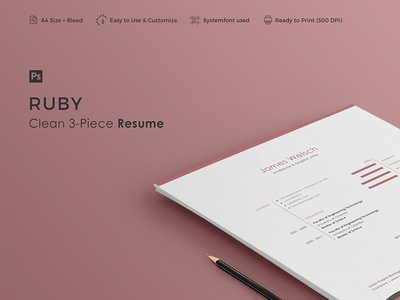 RUBY - Resume Template professional minimal vitae curriculum creative letter cover cv clean career resume 3-piece