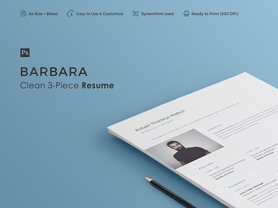 BARBARA - Resume Template vitae resume professional minimal letter cv curriculum creative cover clean career 3-piece