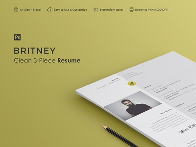 BRITNEY - Resume Template vitae resume professional minimal letter cv curriculum creative cover clean career 3-piece